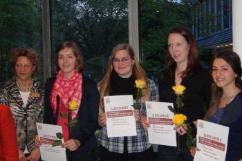 2012: Ingrid Pasch, Katrin Sauerteig (Gewinnerin), Ann-Kathrin Heinrich, Laura Früchtenicht, Yasmin Coskun